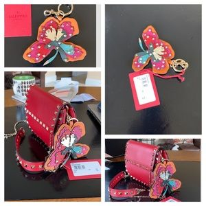 Valentino Rockstud Flower leather keychain charm